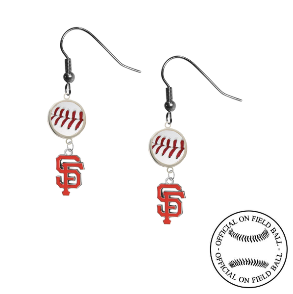 San Francisco Giants MLB Authentic Rawlings On Field Leather Baseball Dangle Earrings