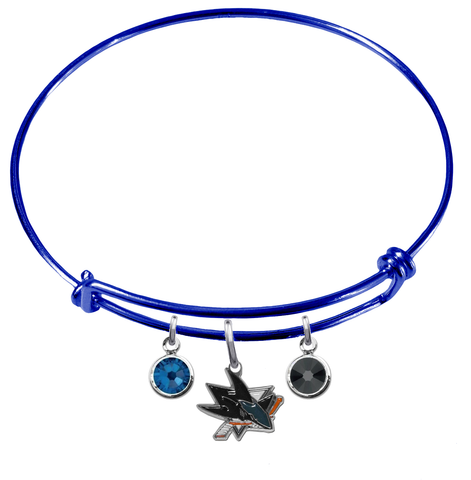 San Jose Sharks Color Edition BLUE Expandable Wire Bangle Charm Bracelet