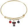 Texas Tech Red Raiders GOLD Expandable Wire Bangle Charm Bracelet