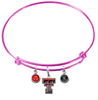 Texas Tech Red Raiders PINK Expandable Wire Bangle Charm Bracelet