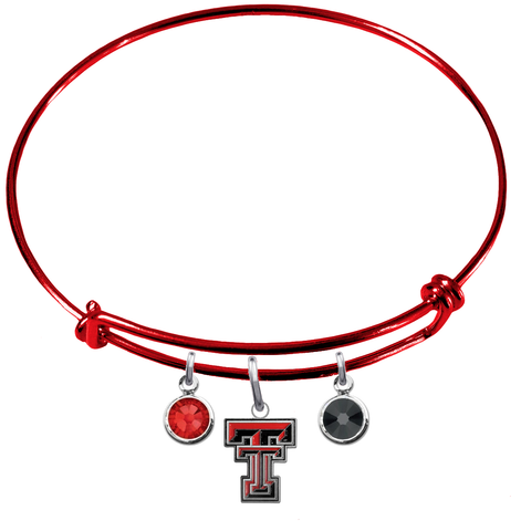 Texas Tech Red Raiders RED Expandable Wire Bangle Charm Bracelet