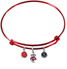 Wisconsin Badgers Mascot Logo RED Expandable Wire Bangle Charm Bracelet
