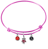 Wisconsin Badgers Mascot Logo PINK Expandable Wire Bangle Charm Bracelet