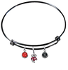Wisconsin Badgers Mascot Logo BLACK Expandable Wire Bangle Charm Bracelet