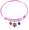Texas A&M Aggies PINK Expandable Wire Bangle Charm Bracelet