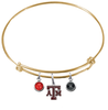 Texas A&M Aggies GOLD Expandable Wire Bangle Charm Bracelet