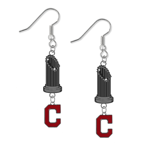 Cleveland Indians Style 2 MLB World Series Trophy Dangle Earrings