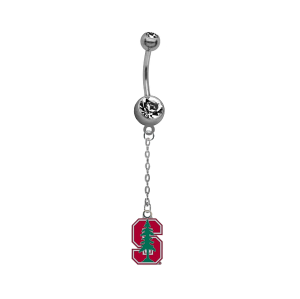 Stanford Cardinal Dangle Chain Belly Button Navel Ring