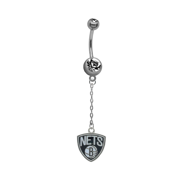 Brooklyn Nets Chain NBA Basketball Belly Button Navel Ring
