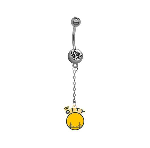 Golden State Warriors Style 2 Chain NBA Basketball Belly Button Navel Ring