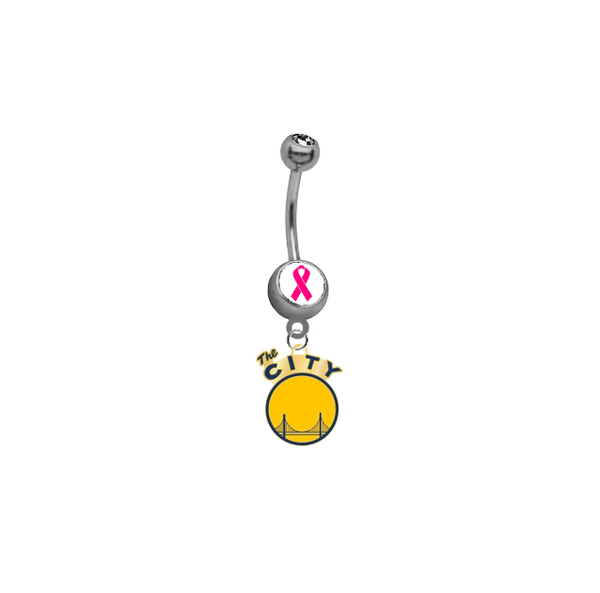 Golden State Warriors Style 2 Breast Cancer Awareness NBA Basketball Belly Button Navel Ring