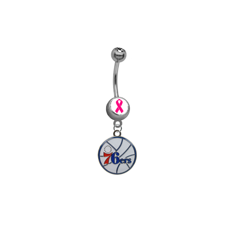 Philadelphia 76ers Breast Cancer Awareness NBA Basketball Belly Button Navel Ring