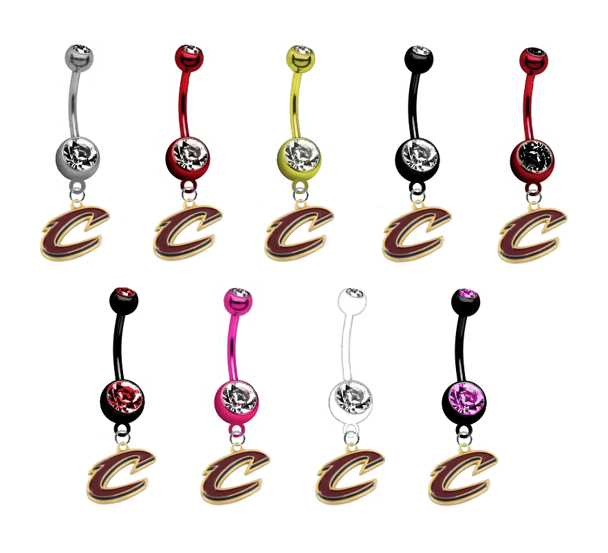 Cleveland Cavaliers Style 2 NBA Basketball Belly Button Navel Ring - Pick Your Color