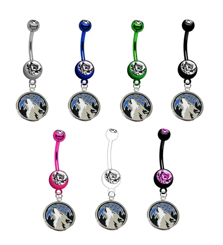 Minnesota Timberwolves NBA Basketball Belly Button Navel Ring - Pick Your Color