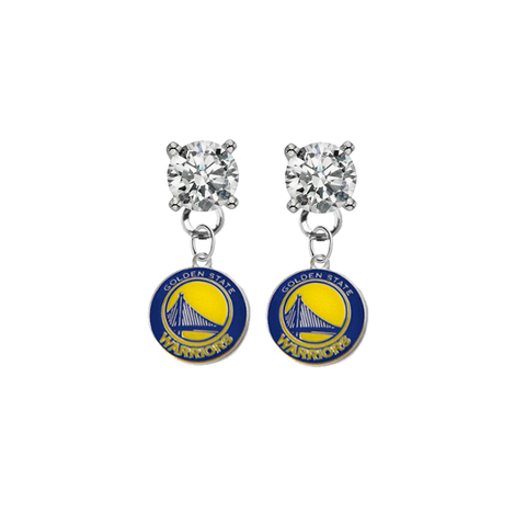 Golden State Warriors CLEAR Swarovski Crystal Stud Rhinestone Earrings