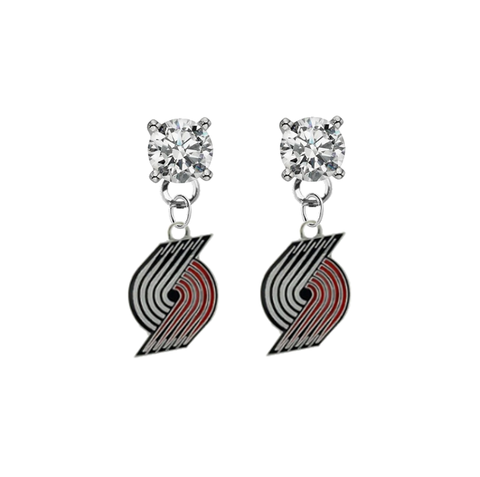 Portland Trail Blazers CLEAR Swarovski Crystal Stud Rhinestone Earrings