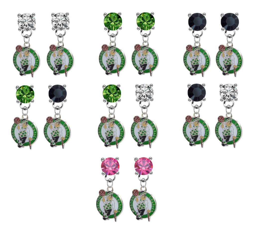Boston Celtics NBA Swarovski Crystal Stud Rhinestone Earrings