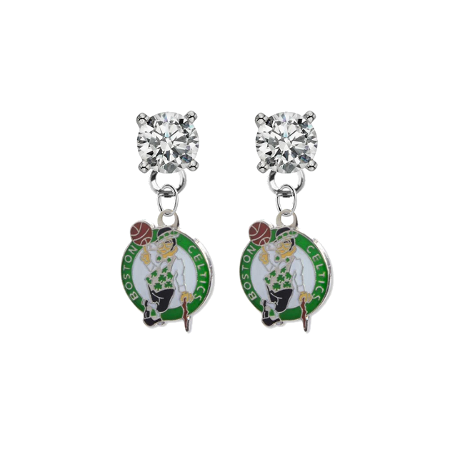 Boston Celtics CLEAR Swarovski Crystal Stud Rhinestone Earrings