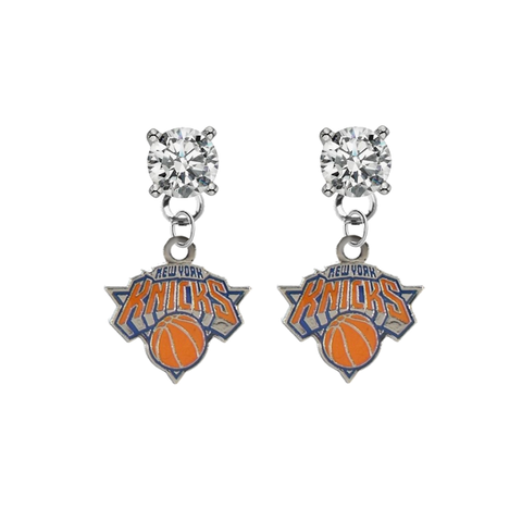 New York Knicks CLEAR Swarovski Crystal Stud Rhinestone Earrings