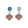 New York Knicks BLUE & CLEAR Swarovski Crystal Stud Rhinestone Earrings