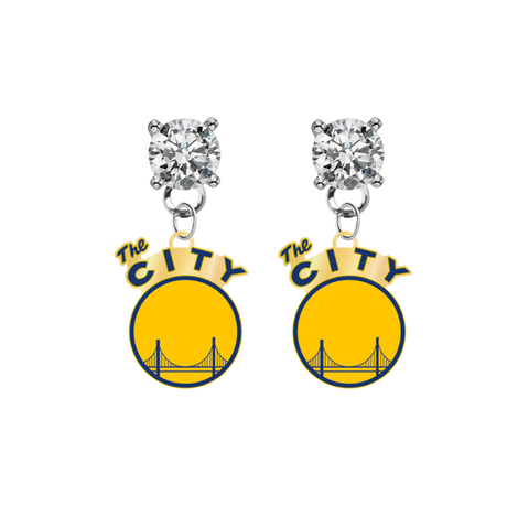 Golden State Warriors Style 2 CLEAR Swarovski Crystal Stud Rhinestone Earrings
