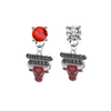 Chicago Bulls RED & CLEAR Swarovski Crystal Stud Rhinestone Earrings