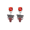 Chicago Bulls RED Swarovski Crystal Stud Rhinestone Earrings