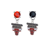Chicago Bulls RED & BLACK Swarovski Crystal Stud Rhinestone Earrings