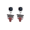 Chicago Bulls BLACK Swarovski Crystal Stud Rhinestone Earrings