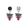 Chicago Bulls BLACK & CLEAR Swarovski Crystal Stud Rhinestone Earrings