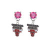 Chicago Bulls PINK Swarovski Crystal Stud Rhinestone Earrings