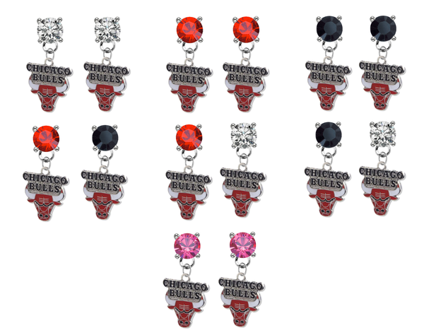 Chicago Bulls NBA Swarovski Crystal Stud Rhinestone Earrings