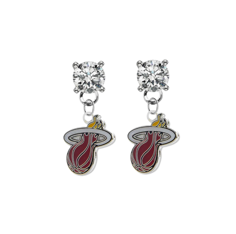 Miami Heat CLEAR Swarovski Crystal Stud Rhinestone Earrings