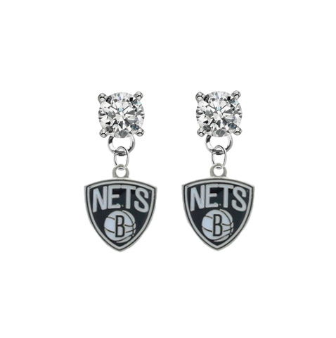Brooklyn Nets CLEAR Swarovski Crystal Stud Rhinestone Earrings