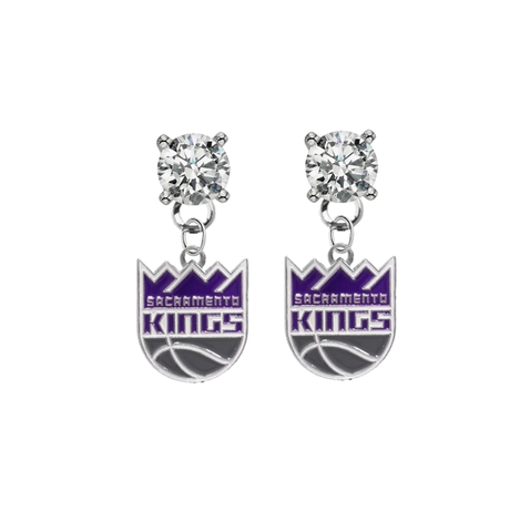 Sacramento Kings CLEAR Swarovski Crystal Stud Rhinestone Earrings
