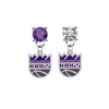 Sacramento Kings PURPLE & CLEAR Swarovski Crystal Stud Rhinestone Earrings