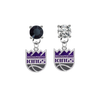 Sacramento Kings BLACK & CLEAR Swarovski Crystal Stud Rhinestone Earrings