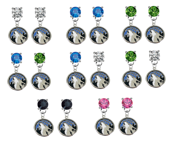 Minnesota Timberwolves NBA Swarovski Crystal Stud Rhinestone Earrings