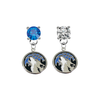Minnesota Timberwolves BLUE & CLEAR Swarovski Crystal Stud Rhinestone Earrings