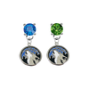 Minnesota Timberwolves BLUE & GREEN Swarovski Crystal Stud Rhinestone Earrings