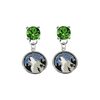 Minnesota Timberwolves GREEN Swarovski Crystal Stud Rhinestone Earrings