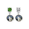 Minnesota Timberwolves GREEN & CLEAR Swarovski Crystal Stud Rhinestone Earrings
