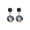 Minnesota Timberwolves BLACK Swarovski Crystal Stud Rhinestone Earrings