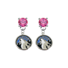 Minnesota Timberwolves PINK Swarovski Crystal Stud Rhinestone Earrings