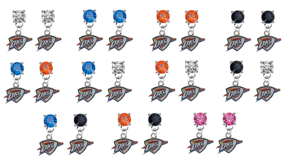 Oklahoma City Thunder NBA Swarovski Crystal Stud Rhinestone Earrings