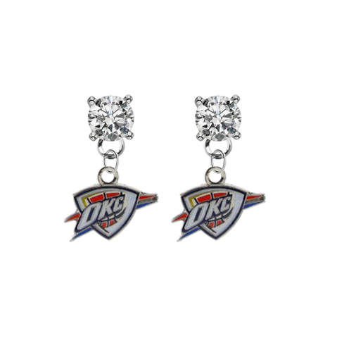 Oklahoma City Thunder CLEAR Swarovski Crystal Stud Rhinestone Earrings