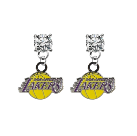 Los Angeles Lakers CLEAR Swarovski Crystal Stud Rhinestone Earrings