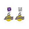 Los Angeles Lakers PURPLE & CLEAR Swarovski Crystal Stud Rhinestone Earrings