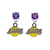 Los Angeles Lakers PURPLE Swarovski Crystal Stud Rhinestone Earrings