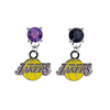 Los Angeles Lakers PURPLE & BLACK Swarovski Crystal Stud Rhinestone Earrings